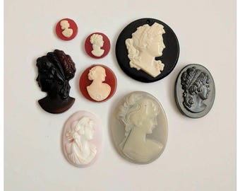Lot of Vintage costume jewelry cameo shell pieces