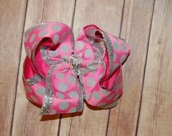 Ssd Hot Pink & Silver Bubble Dot Triple Hair Bow