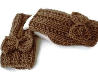 Fingerless Gloves, Red Fingerless Mittens, Knit Gloves, Womens Wristwarmers, Winter Accessories, Brown Gloves