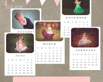 2018 calendar monthly psd file template 5x7 (can be resized) INSTANT DOWNLOAD CS or elements completely customizable
