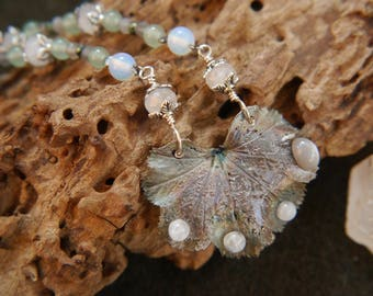 Alchemilla Leaf Pendant with Aventurine and Moonstone Ladies Mantle Herb Jewellery