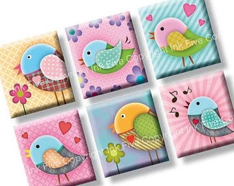 Valentines scrabble tile images Sweet Birds 0.75x0.83 inch squares. Two funny 4x6'' Collage Sheets for scrabble pendants. Digital download.