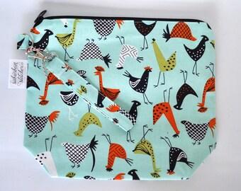 Retro Chickens Small Knitting Bag