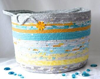 Sun Surf Basket, Handmade Beach Bag Lovely Coiled Fabric Basket, Aqua and Gray Bathroom Storage Basket, Magazine Rack Bin