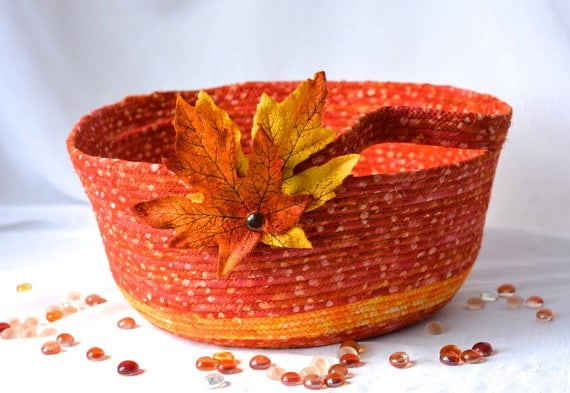 Halloween Gift Basket, Handmade Orange Bowl, Homemade Picnic Basket, Clothesline Fabric Bowl,  Fall Leaf Decoration