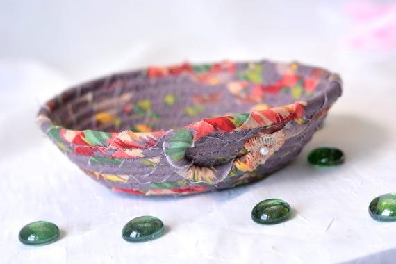 Violet Desk Accessory, Pretty Plum Gift Basket, Handmade Decorative Basket, Brush Holder Bowl, Makeup Organizer, Bath Decoration