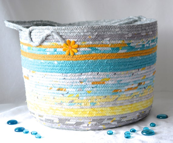 Gray Nursery Basket, Handmade Baby Bag, Lovely Coiled Basket, Aqua and Gray Bathroom Storage Basket, Magazine Rack Bin