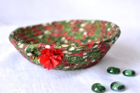 Christmas Decoration, Holiday Candy Dish, Handmade Christmas Basket, Holiday Decoration, Decorative Holiday Bowl