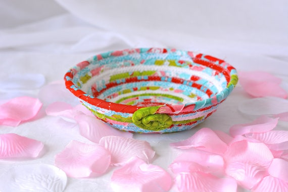 Handmade Ring Holder, Decorative Red and Aqua Basket, Lovely Turquoise Key Tray, Cute Desk Accessory Bowl, L1 Candy Dish, Ring Tray