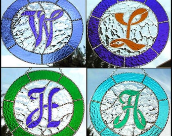 """Monogram Stained Glass Suncatcher Design - Handcrafted Glass Sun Catcher- Choose your Letter & Color - 9 1/2"""" - 9730"""
