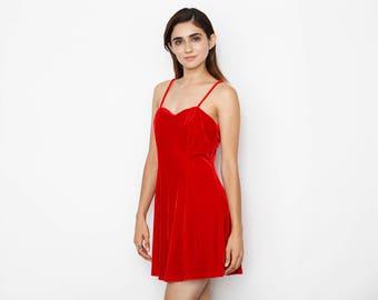 90's Red Velvet Mini Dress
