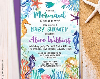 Under the Sea Mermaid Ocean Seahorse Starfish Corals Baby Shower Party Invitation Pool Party Printable Baby Shower Invitation