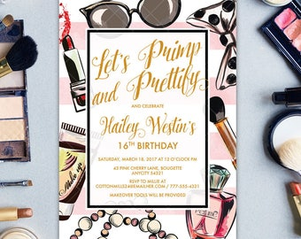 Fashion Show Birthday Party, Primp and Prettify Makeup and Cosmetics Makeover Girly Birthday Party Printable Invitation