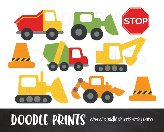 Clipart Construction Trucks, Construction Digital Clip Art Design, Trucks, Stop Signs, Garbage Truck, Bulldozer - Personal Use Only