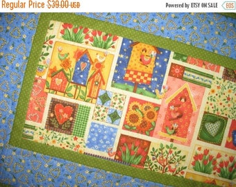 Sale Christmas in July Spring Table Runner, Birds, Floral, Easter, quilted, Summer,Handmade, table runner quilted,  fabric from Paintbrush S