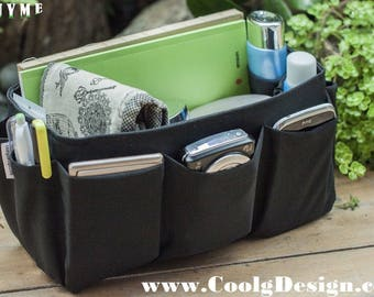 Stylish Bag Organizer Insert extra sturdy for large tote handbags solid black Large 25x10cm