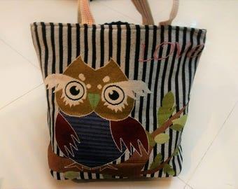 Love Owl Handbag, Extra Large Canvas Tote Bag, Shoulder Bag, Beach Bag, Diaper Bag