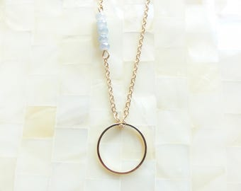 Minimal Gold Eternity Circle Pendant with Faceted Gray Chalcedony Rondelles on Gold Chain Necklace (N1797)
