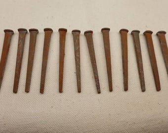 "Antique Nails - Square Head Nails - Antique Tools - 1 Dozen Nails - 2"" Nail"