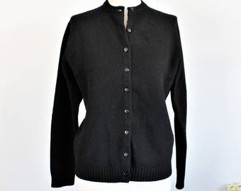 Vintage 1960s Black Wool Cardigan Sweater / The May Co. Made in Hong Kong / Goth Gothic Clothing
