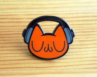 Meu Headphone Cat Enamel Pin