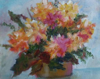 Original acrylic floral painting 8x8 yellow and pink flowers in brass vase