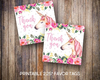 """Unicorn Favor Tags, 2.25"""" Square Tags, Thank You Tag, Birthday Tags, Gift Tags, Watercolor, Digital Download, Printable Tags, 603"""
