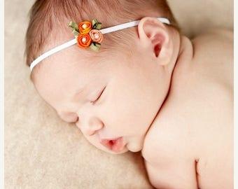 12% off Newborn Headband Baby Headband Fall headband tiny bow orange bow Halloween photo prop preemie headband teen headband headband baby B