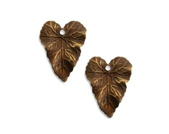 Vine Leaf Charm, Vintage Patina, Qty 2