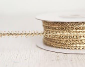 Gold Trim - Vintage Style Metallic Braid Picot Ribbon, 25 Yds