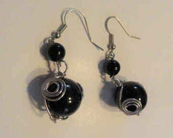 black glass earrings with wire