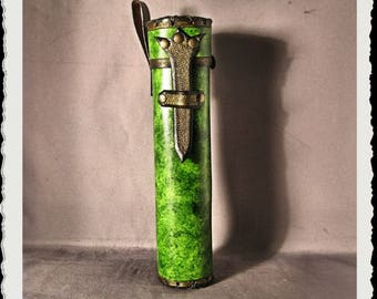 Green Leather Scroll Case / Holster / Tube - Wenya