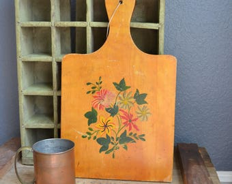 Vintage Cutting Board Kitchen Display Counter Top Decor Vintage Kitchen Decor Flowers Floral Green Brown Red Yellow Wood Cutting Board