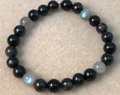 Eclipse Bracelet, Arfvedsonite, Astrophyllite, Hypersthene, Labradorite, Black Tourmaline, Shungite, 8mm Bracelet, Bead Bracelet, Moonphase
