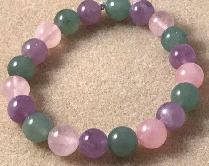 Migraine Bracelet, Amethyst Bracelet, Rose Quartz Bracelet, Aventurine Bracelet, 10mm Bracelet, Stretch Bracelet, Beaded Bracelet, Pastel