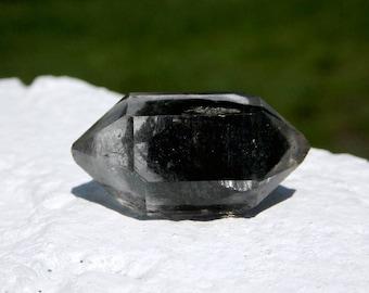 Tibetan Black Phantom Quartz Crystal - double terminated, protection crystal, high vibration crystal, crystal healing