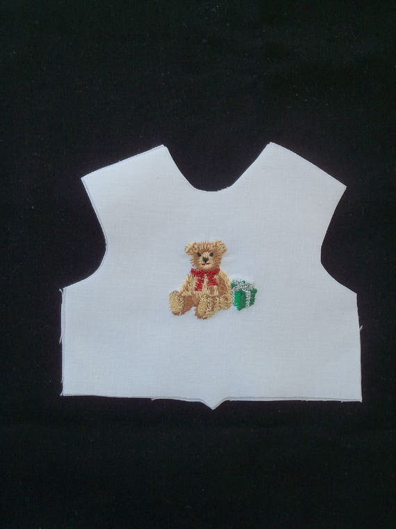 "14"" Size / Embroidered Christmas Bodice Front  / Lining Included / Sewing for 14""  Wellie Wisher Dolls"