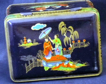 Vintage Daher Made in England Oriental Designed Tin Box Container (empty), 1980s