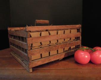 Vintage Egg Crate / Farmhouse Wood Egg Crate / Wood Handle / Wooden Egg Crate / Farm Egg Carrier