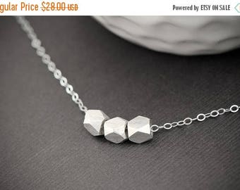 SALE - Petite Nugget Sterling Silver necklace, Tiny Faceted Solid sterling Silver Slider necklace, Dainty Everyday Simple Necklace