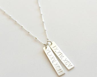 SALE - Silver Roman Numeral Bar Necklace, Custom Date Necklace, Sterling Silver Personalized Vertical Bar Necklace, Mother of the Bride Neck