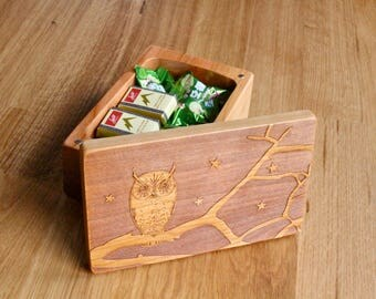 Owl Pattern Wooden Storage Box 5-3/8 x 3-3/8, SB13a Owl, Solid Cherry -Laser Engraved, Paul Szewc, Masterpiece Laser