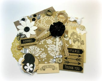 Vintage Country Burlap Paper Embellishment Kit/ Junk Journal Kit/ Inspiration Kit for Scrapbook Layouts Cards Mini Albums Tags Paper crafts