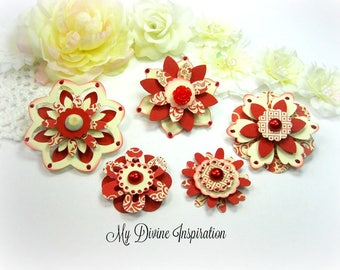 Basic Grey Piccadilly Red and Ivory Paper Embellishments and Paper Flowers for Scrapbook Layouts Cards Mini Albums Tags and Papercrafts