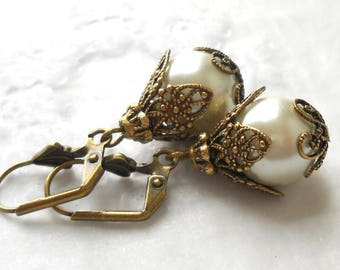 white pearl victorian earrings victorian dangle earrings white earrings brass filigree earrings vintage style earrings white earrings