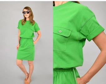 SUMMER SALE 90's Green Minimalist Dress