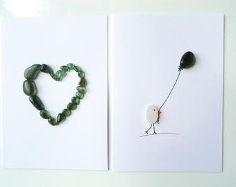 Seaham Sea Glass gift cards  - Green Heart and Bird with Balloon (E1741) - from Seaham beach,  UK