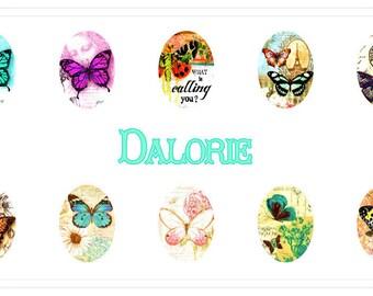18 x 25 mm , Papillon, Collage, Planche d'Images Digital
