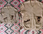 Vintage 1940's Chainstitch Varsity Sweater, Wool Sweater, Los Angeles, Cookie, Monogrammed 40s Sweater, Women's