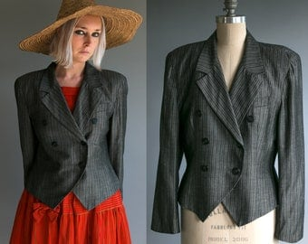 Vintage Christian Dior The Suit Double Breasted Blazer in Grey, Pinstripe, Women's Size 10, Paris New York USA